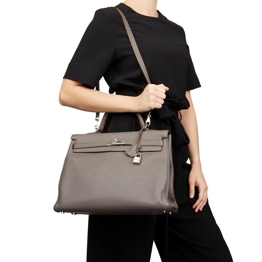 c16684d9e33d Hermès Etain Togo Leather Kelly 35cm Retourne