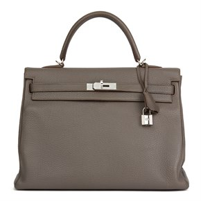 Hermès Etain Togo Leather Kelly 35cm Retourne