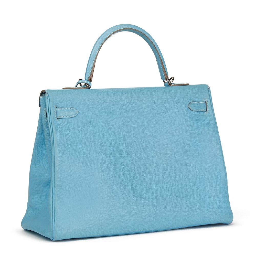 Hermès Celeste & Mykonos Epsom Leather Kelly 35cm Retourne