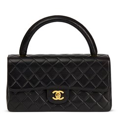 Chanel Black Quilted Lambskin Vintage Medium Classic Kelly Flap