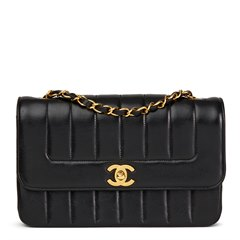 Chanel Black Vertical Quilted Vintage Classic Single Flap Bag