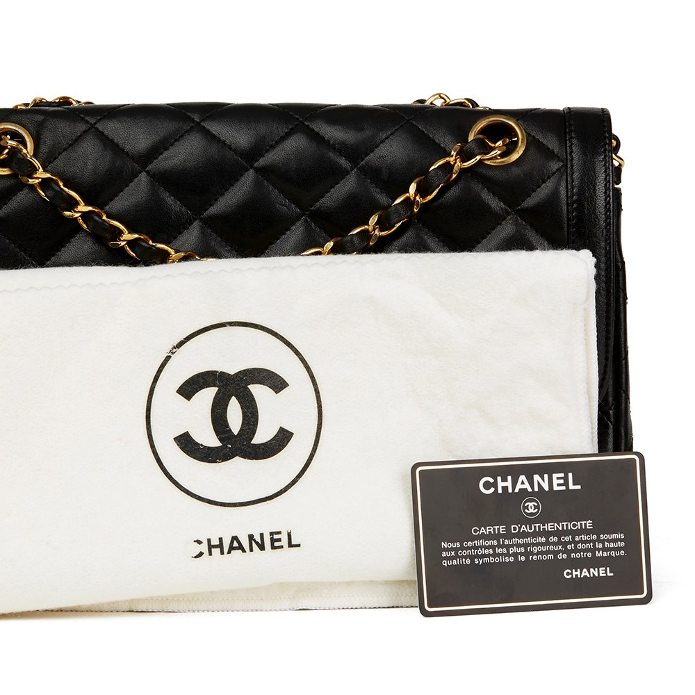 6d2ee233338f53 Chanel Black Quilted Lambskin Vintage Medium Paris Limited Double Flap Bag