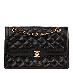 Chanel Black Quilted Lambskin Vintage Medium Paris Limited Double Flap Bag