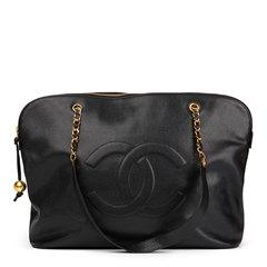 Chanel Black Caviar Vintage Jumbo Timeless Shoulder Bag