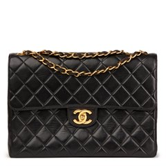 Chanel Black Quilted Lambskin Vintage Jumbo Classic Single Flap Bag