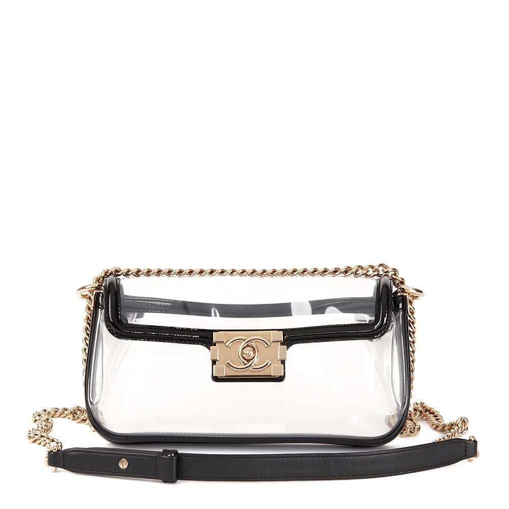 636e93b232a5 Chanel Black Patent Leather   Transparent PVC Naked Boy Flap Bag