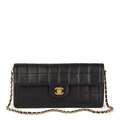 Chanel Black Quilted Lambskin East West Chocolate Bar Flap Bag