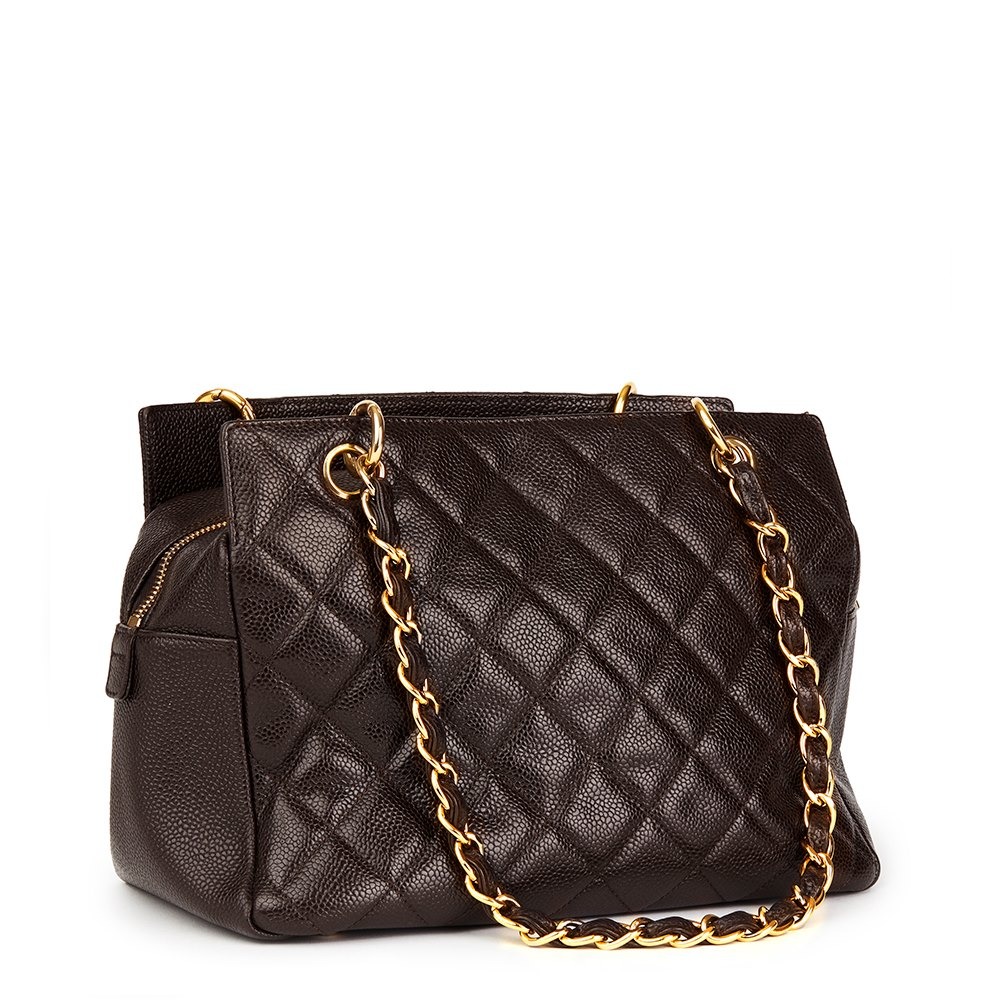c0d0bd5daf2f Chanel Chocolate Brown Quilted Caviar Leather Petite Timeless Tote PTT