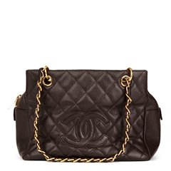 Chanel Chocolate Brown Quilted Caviar Leather Petite Timeless Tote PTT