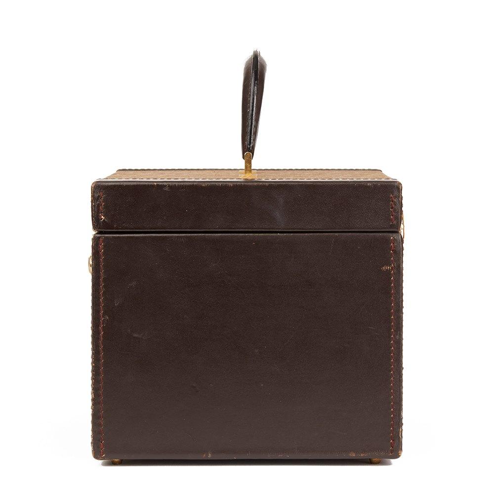 Dior 1980s Christian Dior Brown Calfskin Leather Canvas Vintage Vanity Case JLS0kWdi