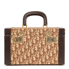 Christian Dior Brown Calfskin Leather & Monogram Canvas Vintage Vanity Case