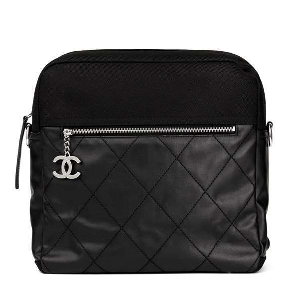 Chanel Black Quilted Coated Canvas Convertible Backpack