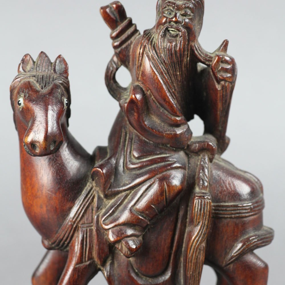 Antique Chinese Wooden Figure Of A Bearded Immortal On Horseback Early 20th C.