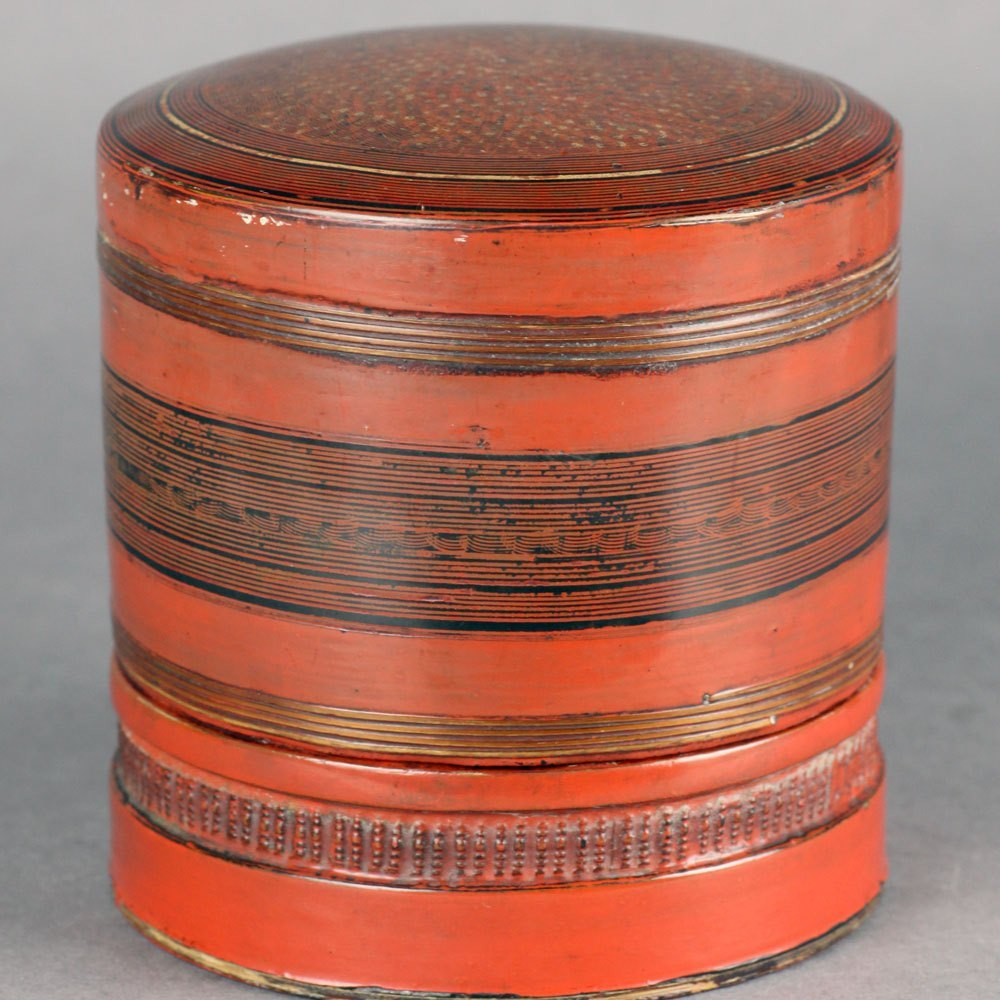 Antique Oriental Lacquered Papier-Mache Three Part Spice Jar 19th C.