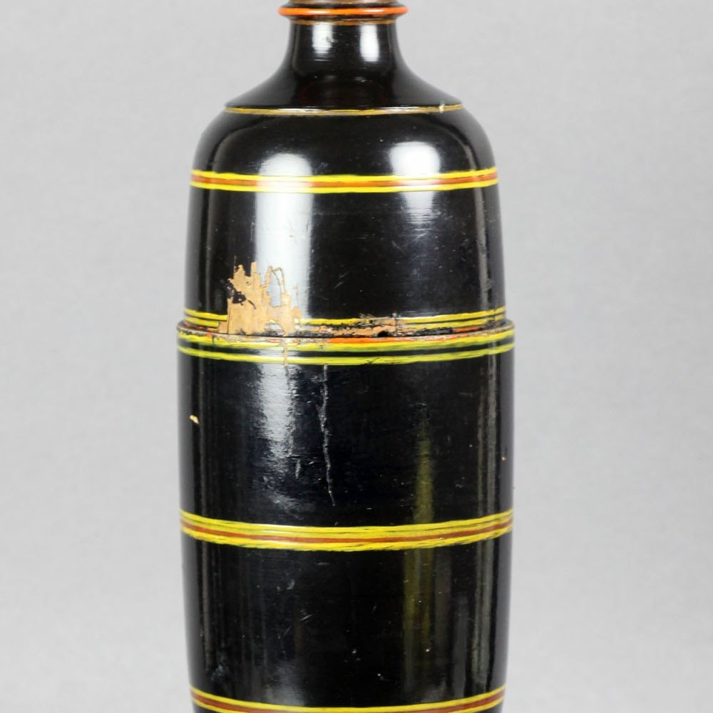 Antique Oriental Black Lacquered Wooden Tower Spice Jar 19th C.
