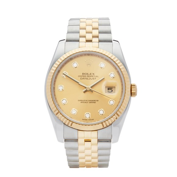 Rolex DateJust 36 Diamond Stainless Steel & Yellow Gold - 116233