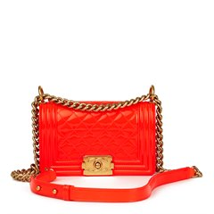 Chanel Neon Red Quilted Patent Leather Small Le Boy