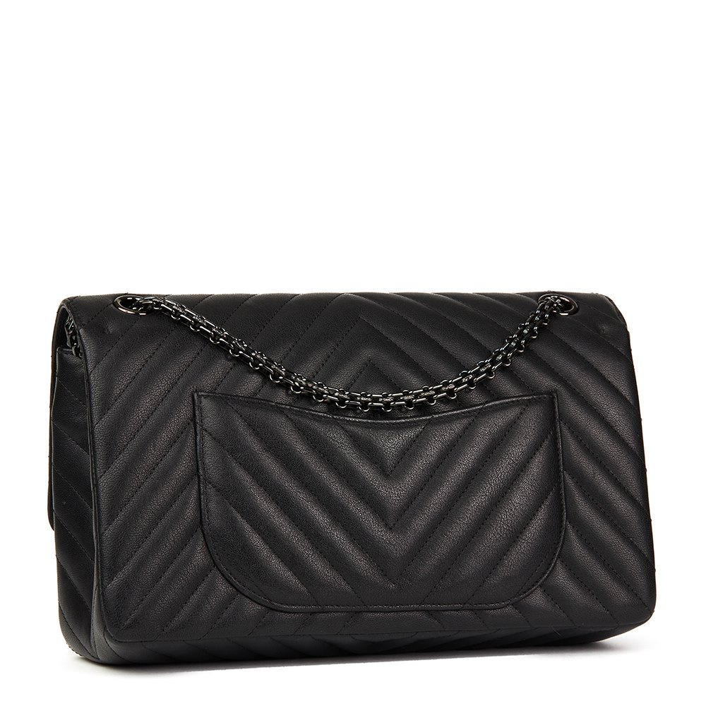 40c1df6a00dc78 Chanel Black Chevron Quilted Calfskin Leather SO Black 2.55 Reissue 226  Double Flap Bag