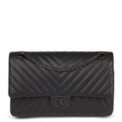 Chanel Black Chevron Quilted Calfskin Leather SO Black 2.55 Reissue 226 Double Flap Bag