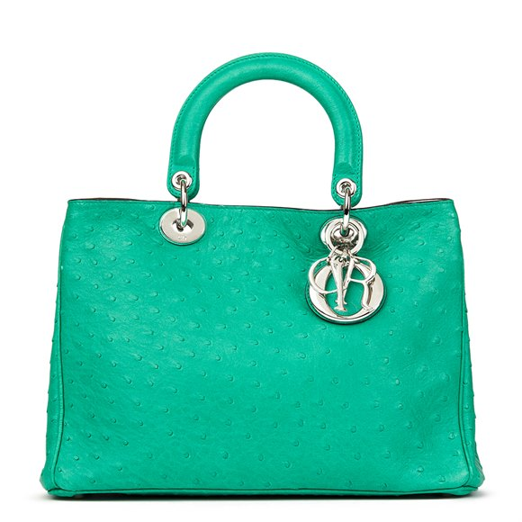 Christian Dior Emerald Ostrich Leather Diorissimo MM