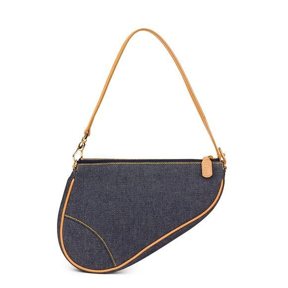 Christian Dior Blue Denim Saddle Pouch
