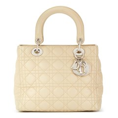 Christian Dior Beige Quilted Lambskin Lady Dior MM