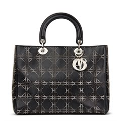 Christian Dior Black Studded Lambskin Large Diorissimo