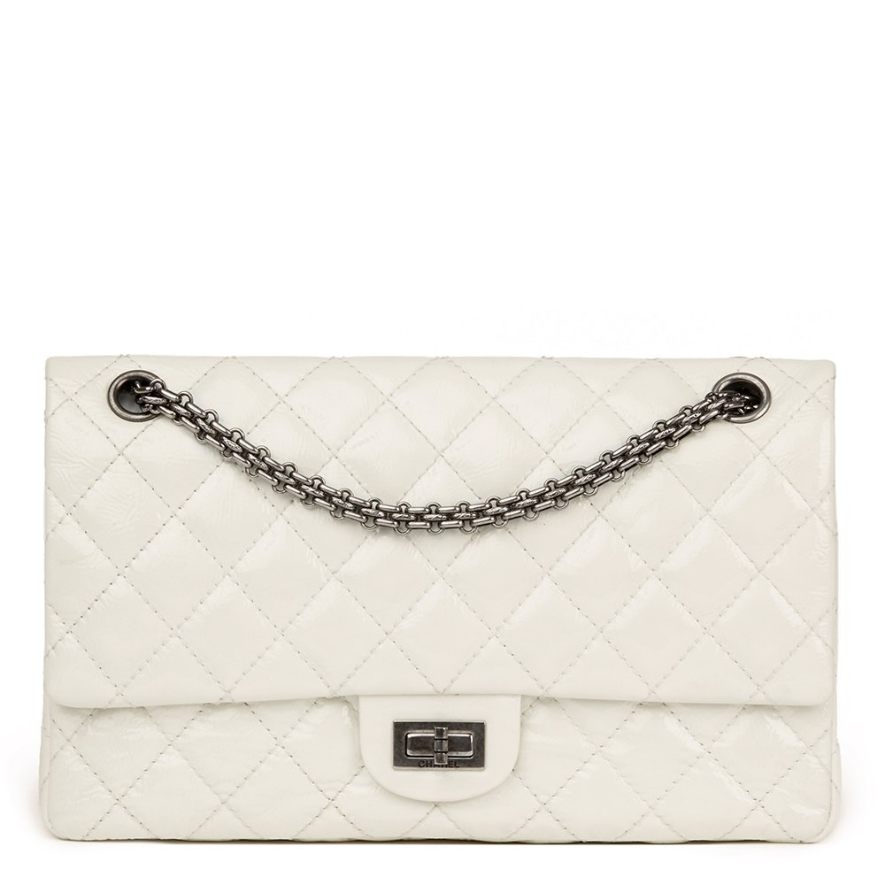 40c5cd3ad3e6 Chanel Milk-White Quilted Patent Leather 2.55 Reissue 226 Double Flap Bag