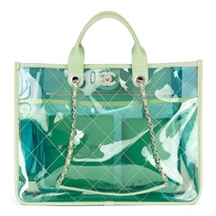 Chanel Green, Blue, Pink Lambskin & PVC Large Shopping Tote