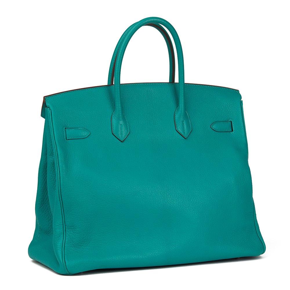 887a0d82c2f6 Hermès Blue Paon Chevre Mysore Leather Birkin 36cm HAC