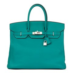 Hermès Blue Paon Chevre Mysore Leather Birkin 36cm HAC