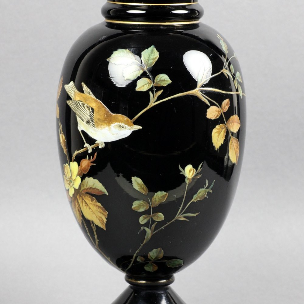 VICTORIAN BLACK GLASS VASE 19th Century
