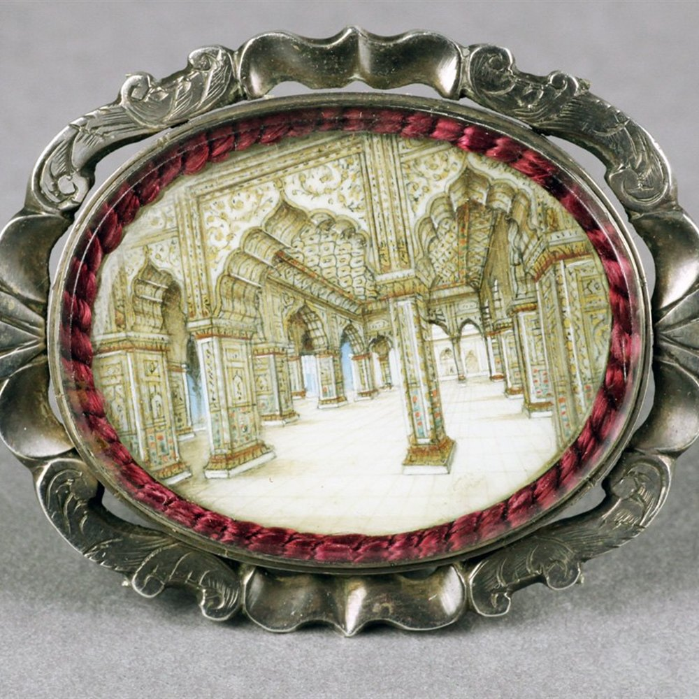 Exceptional Indian Miniature Diwan-I-Khas Red Fort Delhi Watercolour Silver Brooch 19th C.