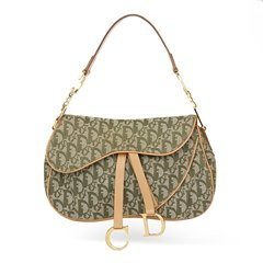 Christian Dior Khaki Monogram Canvas Saddle Bag