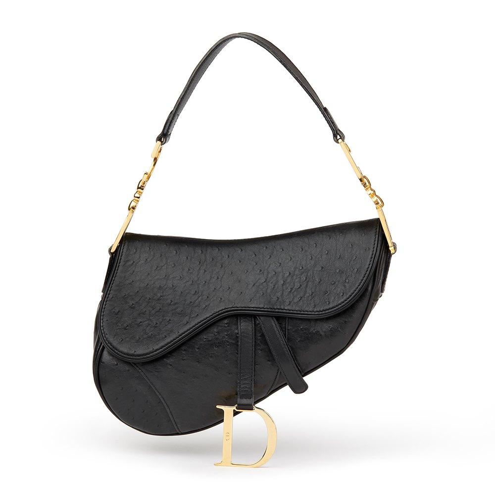 99b86d602ebd Christian Dior Black Ostrich Leather Saddle Bag