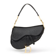 Christian Dior Black Ostrich Leather Saddle Bag