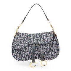 Christian Dior Navy Monogram Canvas Saddle Bag