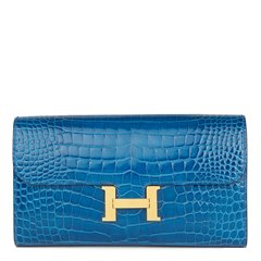 Hermès Mykonos Shiny Alligator Leather Constance Long Wallet