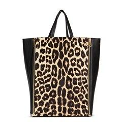 Céline Black Lambskin & Leopard Pony Fur Vertical Gusset Cabas Tote