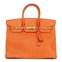 Hermès Orange H Ostrich Leather Birkin 35cm