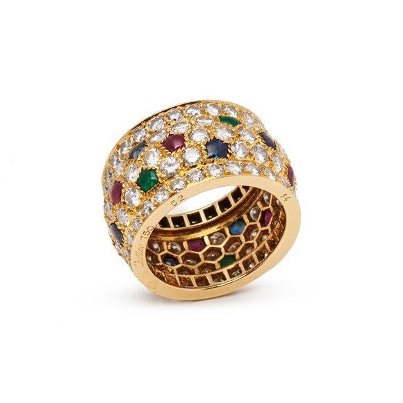 Cartier 18k Yellow Gold Multi-Gemstone Nigeria Band Ring