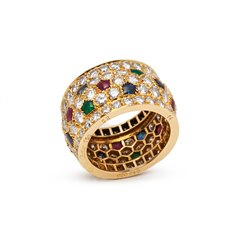 Cartier 18k Yellow Gold Mutli-Gemstone Nigeria Band Ring