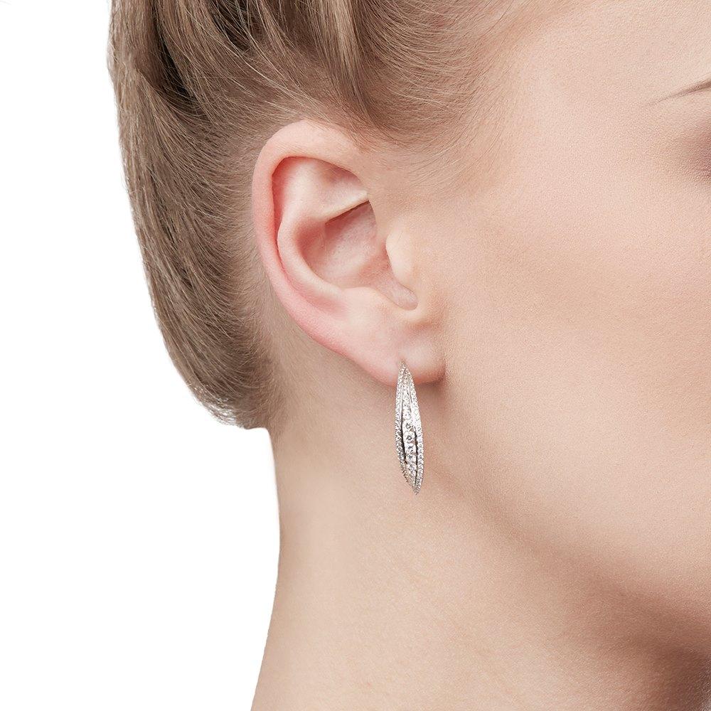 Mappin & Webb 18k White Gold Diamond Hoop Earrings