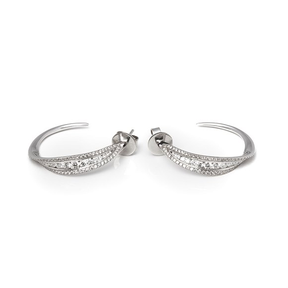 Mappin & Webb 18k White Gold Diamond Hoop Earrings