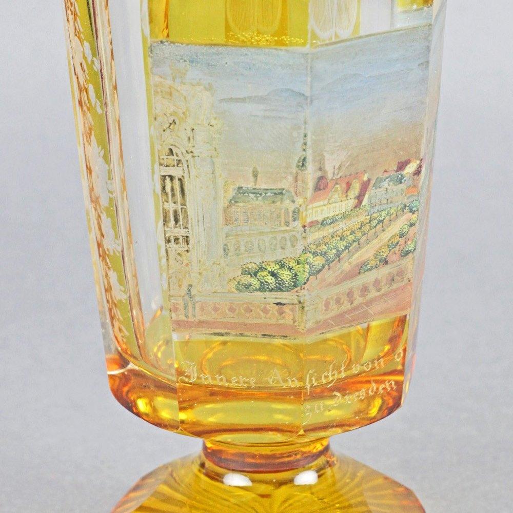 BOHEMIAN OVERLAY GLASS GOBLET c.1830