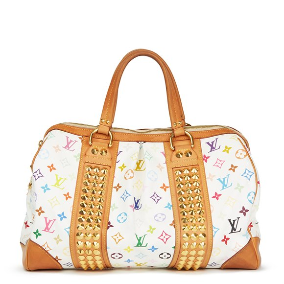 Louis Vuitton White Multicolor Monogram Coated Canvas Courtney GM