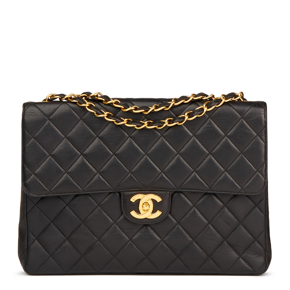 7490764a5c0d Chanel Black Quilted Lambskin Vintage Jumbo Classic Single Flap Bag