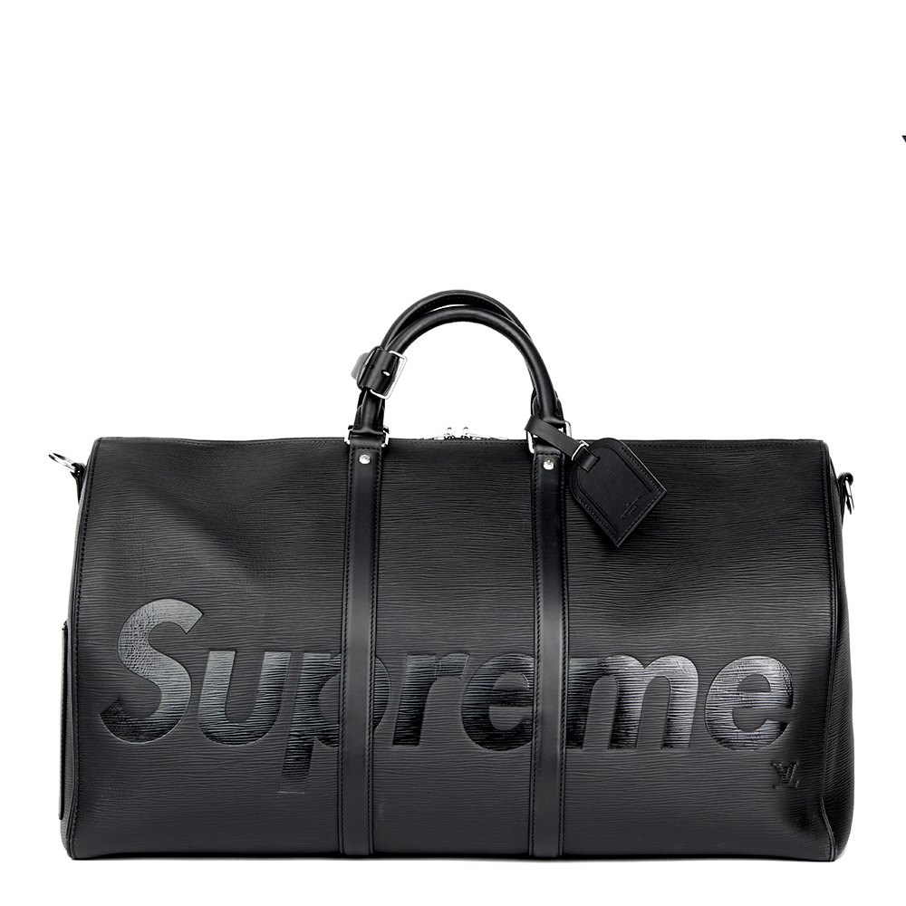 Louis Vuitton X Supreme Black Epi Leather Keepall Bandouliere 55