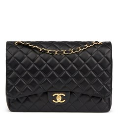 Chanel Black Quilted Lambskin Maxi Classic Double Flap Bag
