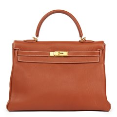 Hermès Brique Togo Leather Kelly 32cm Retourne